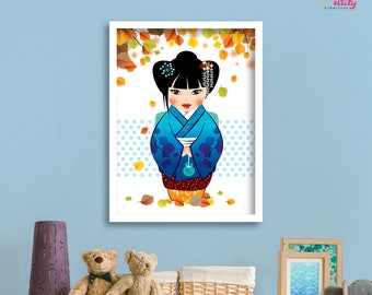 "Deco kid KOKESHI ""Tsukimi"" - autumn poster"