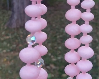 2 Strand Pink Plastick Bead Necklace