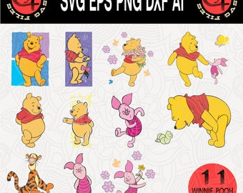 11 Winnie Pooh Clipart, Disney svg, Piglet svg, Svg Files, Cut Files, Piglet svg, Eps,Dxf,Svg,Png, INSTANT DOWNLOAD, Tigger svg, svg Cricut