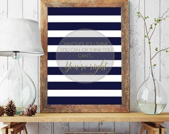 Inspirational Quote / Poster Print / Navy Blue Stripes / Gold / Henry Ford / Typography Print / Wall Art / 5x7 / 8x10 / A4 / A3