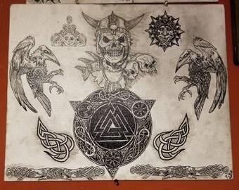 Celtic Skull and Ravens