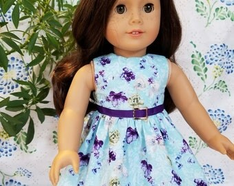 """Purple Floral Print on Blue Dress for American Girl or 18"""" Doll"""