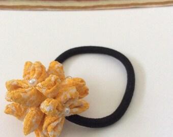 Yellow ponytail holder chirimen/Japanese crepe