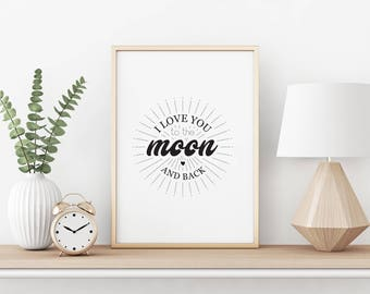 I love you to the moon and back - A4 printable image