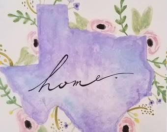 Texas home painting, water color, handmade