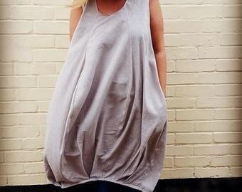 Maxi Oatmeal Stretch Linen Bubble Dress