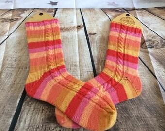 Merino/nylon Juice Berry cabled socks ladies (6-7)
