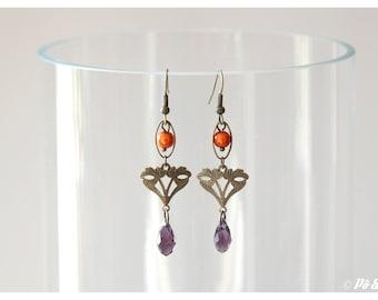 Orange and purple spirit earrings vintage - #0654