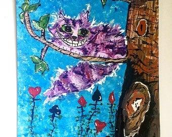 Disney Alice in Wonderland Cheshire Cat Acrylic Painting