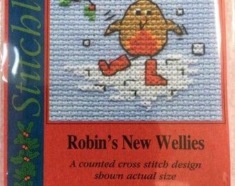 ROBIN'S NEW WELLIES ~ Mouseloft Stitchlets ~ Mini Cross Stitch Kit