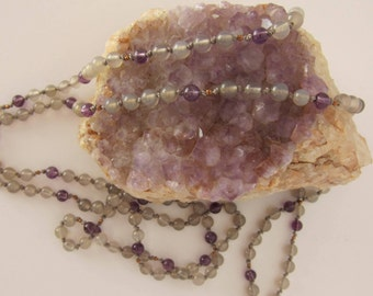 Gray Agate-Amethyst-Copper Wrap Necklace - Genuine Gemstones & Pure Silk Thread