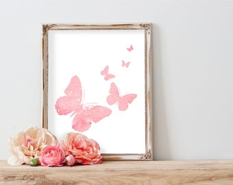 Pink Butterfly Print, Watercolor Butterflies Print, Butterflies Wall Decor, Pink Nursery, Pink Girl Bedroom, Kids Room Illustration, Print