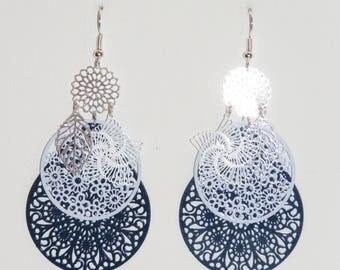 Leaf earrings, flowers, drops, Navy prints, blue, silver, blue earrings, dangle earrings, gift idea