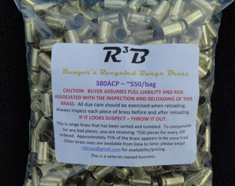 380 ACP - 1000 - Recycled Range Brass - Sorted and Tumbled (Polished)