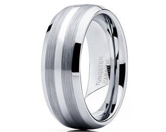 Grey Tungsten Wedding Band Men & Women Brush Tungsten Wedding Band Engagement Tungsten Ring Dome Style Ring