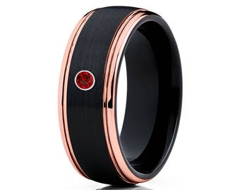 Ruby Tungsten Wedding Band Rose Gold Tungsten Ring Men & Women Tungsten Carbide Ring Anniversary Band Comfort Fit Ring