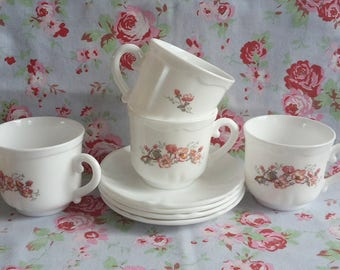 4 Vintage French Arcopal Coffee / Tea Cups + Saucers Set of 3 Mugs Pink Flowers Made In France Tea Americano Milk Glass French Pyrex