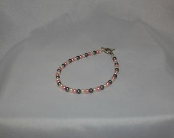 Gray, White, Pink Faux Pearl Bracelet