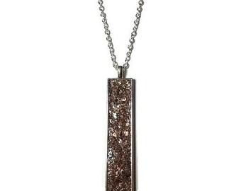 Drop pendant, drop necklace, bar pendant, crystal pendant, boho, under 20 dollars, geode pendant, geode necklace, rectangle pendant, bronze