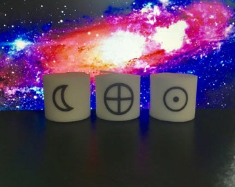 Crescent Moon, Sun, Earth Symbol Candles, Set of 3 Votive Candles, Alter Candles