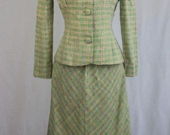 Cheerful 1960's Plaid Suit, Size Small.