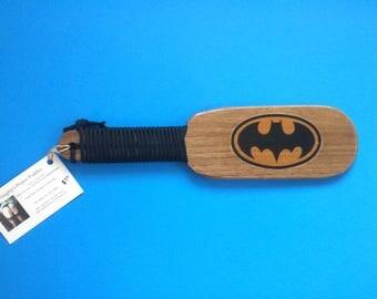 Batman Spanking Paddle Walnut Hairbrush Style