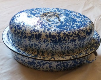 Blue & White Splatter Enamelware Covered Roaster Pan