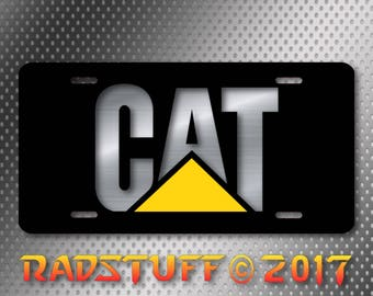"CAT Caterpillar Logo Metallic Design on Black Novelty License Plate 6""x12"""
