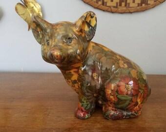 Vintage Ceramic Pig, Floral Pig