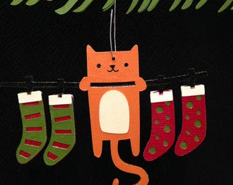 Kitten with stockings Christmas tree ornament