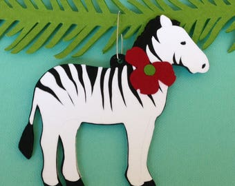 Zebra Christmas tree ornament