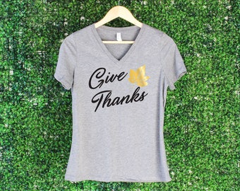 Give Thanks Tank Top, V-neck, Give Thanks Shirt, Fall Shirt, Thanksgiving Shirt, Women's Fall Shirt, Thankful Grateful Blessed Shirt
