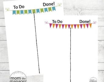 Instant Digital Download To Do and Done: Pink and Orange Banner Chart for Daily Routines, Tasks and Chores