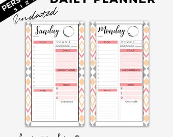 Filofax PERSONAL size inserts, planner printables pages, Kikki K Medium, Filofax Personal, Day Organizer, Daily To Do List, today planner,