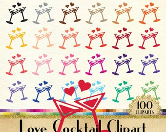 Love Cocktail Clipart, Love Clip art, Valentine Clipart, 100 PNG Clipart, Planner Clipart, Instant Download Clipart, 100 Wedding Clipart
