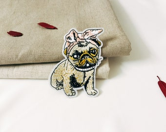 cute bulldog patch-iron on patch -embroidered patch -DIY-patch for jacket -applique