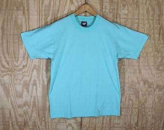 Vintage 1980's Blank Mint 50/50 Screen Stars Best T Shirt T-shirt Tee Medium Large M / L