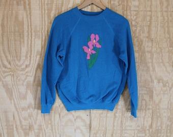 Vintage 1970's Floral Iris Applique 50/50 KEE-WEE Sweats Sweatshirt Medium Large