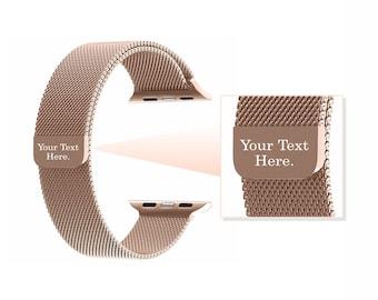 Champagne Gold Milanese Engraved Apple Watch Band Watchband 38mm 42mm Bracelet Band Adjustable Girlfriend Gift Best Friend Boyfriend Gift