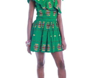 FOLKSHELF African Print Amara Ruffle Dress
