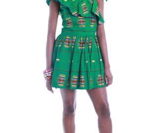 FOLKSHELF African Print Amara Ruffle Dress