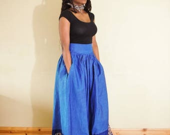 FOLKSHELF African Print Denim Maxi Skirt