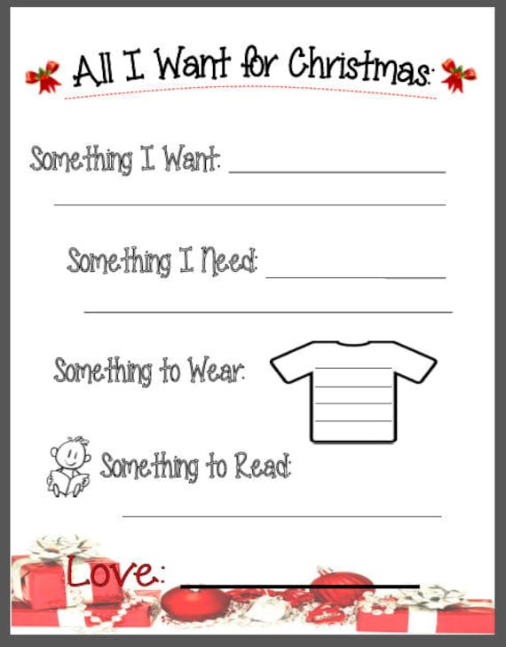 Christmas List for Kids Something you Want Need Wear