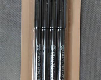 GLASS MARKERS Lot 4 feutres marqueurs pour verre, porcelaine, métal dont 2 couleurs métallisées green/vert grey/gris