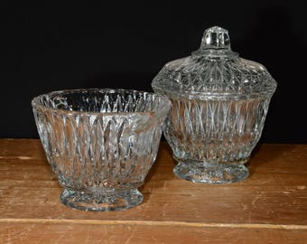 Scarce Hard to Find Vintage Libbey Rock Sharpe Glass Clear Elongated Cut Diamond Pattern Creamer and Sugar Bowl with lid Depression Glass