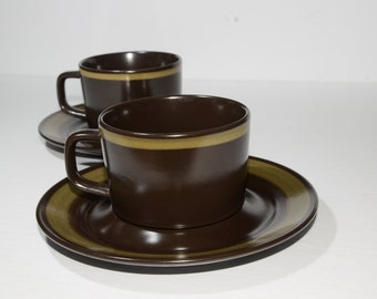 Mikasa, Terrazo, Majorca, Stoneware, Set of 2, Teacup and saucer, Collectible Kitchen, Japan, Vintage, Brown and Olive Green, coffee cup,mug