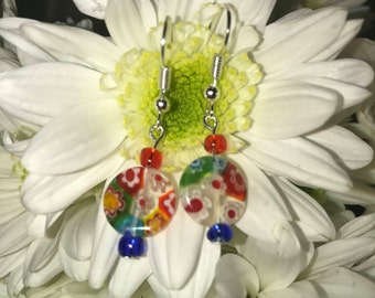 Sterling Silver Millefiori Earrings