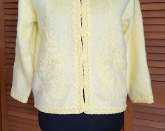 Vintage Yellow Fuzzy Acrylic Embroidered Cardigan - Size M