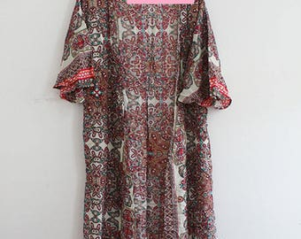 Kimono Duster with Boho Print in Pink