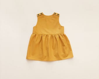 Baby Toddler Girl Mustard Yellow, Navy Blue, Burgundy Red, Green, Purple, and Floral Dress